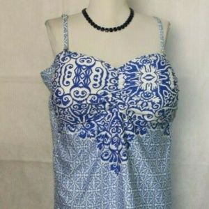 Liz Claiborne Build in Bra Tankini Top 22W S334